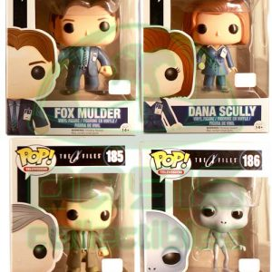 Oasis Collectibles Inc. - Pop T.V. - X-Files - Smoking Man #185, Alien #186, Fox Mulder #183, Dana Scully #184